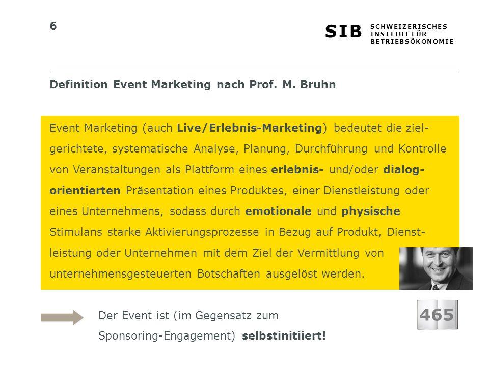 6 S I BS I B S C H W E I Z E R I S C H E S I N S T I T U T F Ü R B E T R I E B S Ö K O N O M I E Definition Event Marketing nach Prof. M. Bruhn Event