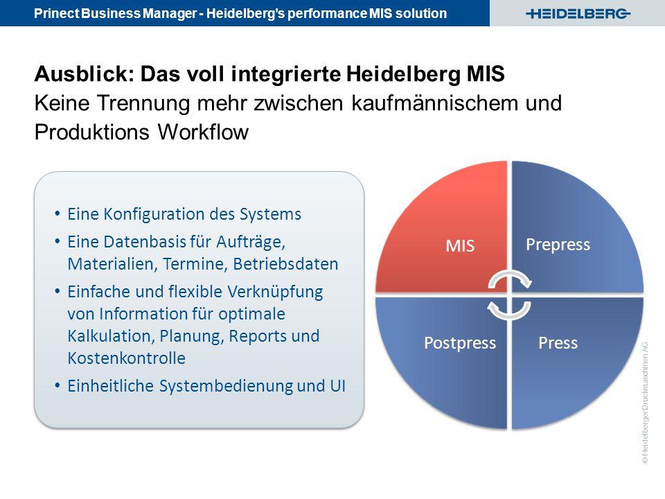 Prinect Business Manager - Heidelberg's performance MIS solution © Heidelberger Druckmaschinen AG Eine Konfiguration des Systems Eine Datenbasis für A