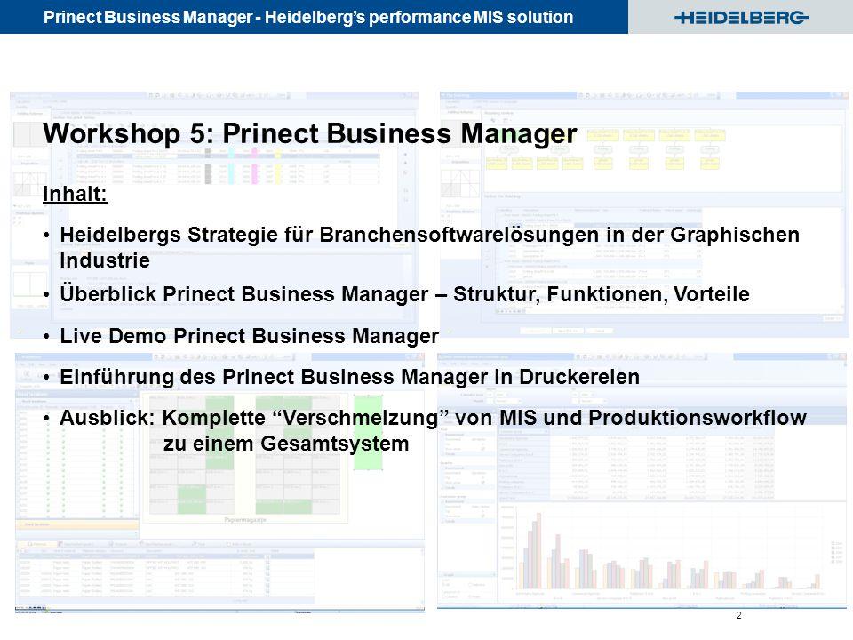 Prinect Business Manager - Heidelberg's performance MIS solution © Heidelberger Druckmaschinen AG 2 Inhalt: Heidelbergs Strategie für Branchensoftware