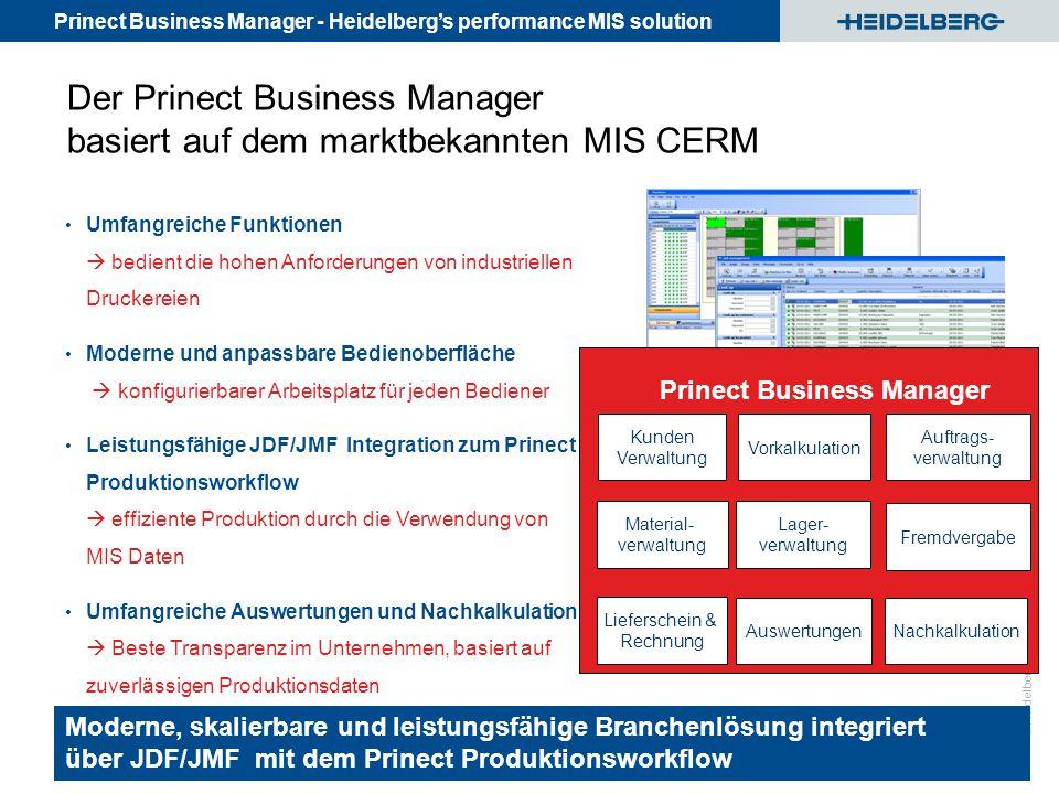 Prinect Business Manager - Heidelberg's performance MIS solution © Heidelberger Druckmaschinen AG Der Prinect Business Manager basiert auf dem marktbe