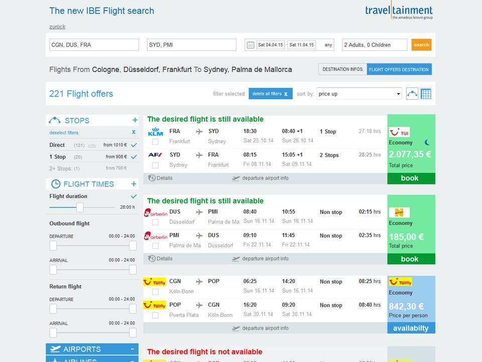 Live-Filter Widgets Regionsübergreifende Angebotsliste Preiskalender / Preismatrix Anzahl Stopps Flugzeiten Flughafen, Airlines, Kabinenklassen Flugdauer