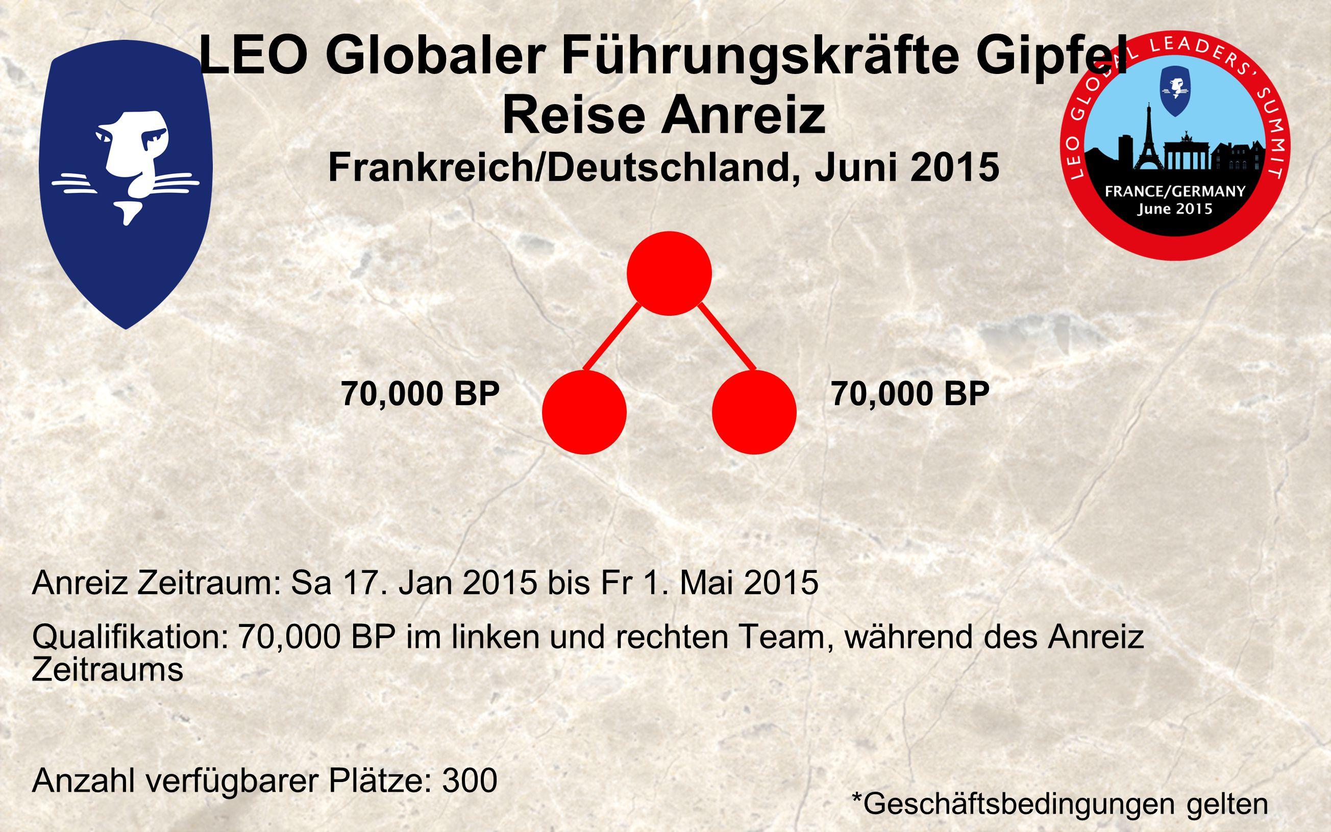 LEO Globaler Führungskräfte Gipfel Reise Anreiz Frankreich/Deutschland, Juni 2015 Anreiz Zeitraum: Sa 17.