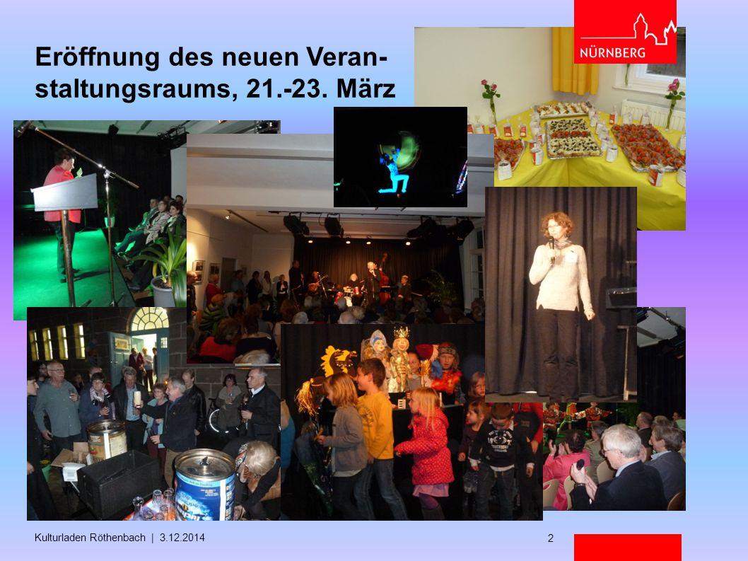 Eröffnung des neuen Veran- staltungsraums, 21.-23. März Kulturladen Röthenbach | 3.12.2014 2