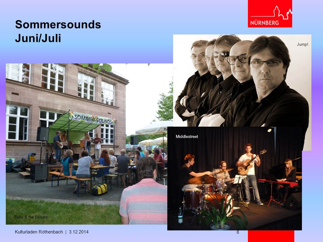 Sommersounds Juni/Juli Kulturladen Röthenbach | 3.12.2014 6 Jump! Belle & the Beasts Middlestreet