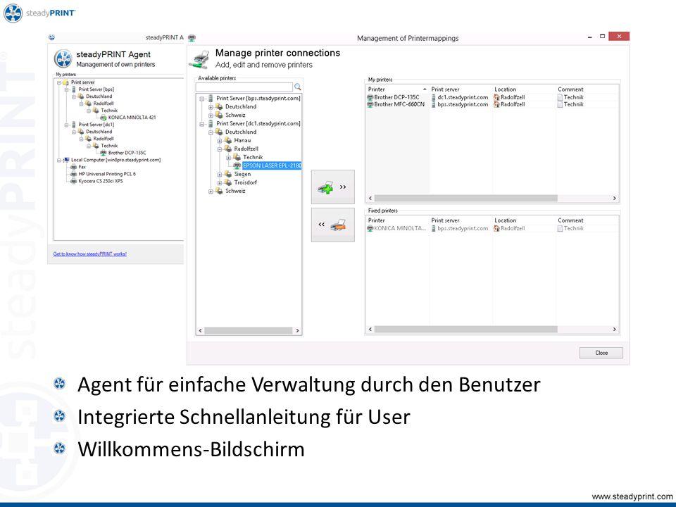 Agent für einfache Verwaltung durch den Benutzer Integrierte Schnellanleitung für User Willkommens-Bildschirm
