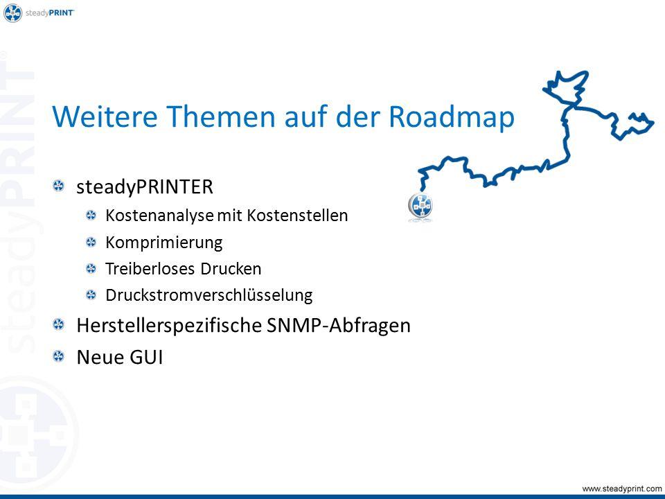 Weitere Themen auf der Roadmap steadyPRINTER Kostenanalyse mit Kostenstellen Komprimierung Treiberloses Drucken Druckstromverschlüsselung Herstellerspezifische SNMP-Abfragen Neue GUI