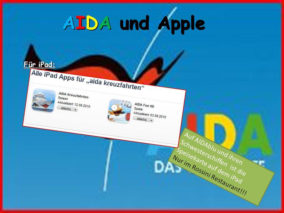 AIDA und Apple Für iPad: Auf AIDAblu und ihren Schwesterschiffen ist die Speisekarte auf dem iPad Nur im Rossini Restaurant!!!