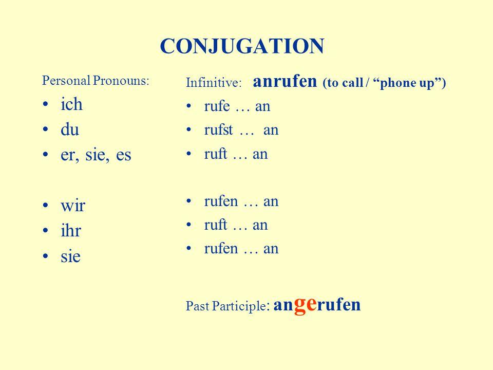 CONJUGATION Personal Pronouns: ich du er, sie, es wir ihr sie Infinitive: anrufen (to call / phone up ) rufe … an rufst … an ruft … an rufen … an ruft … an rufen … an Past Participle : an ge rufen