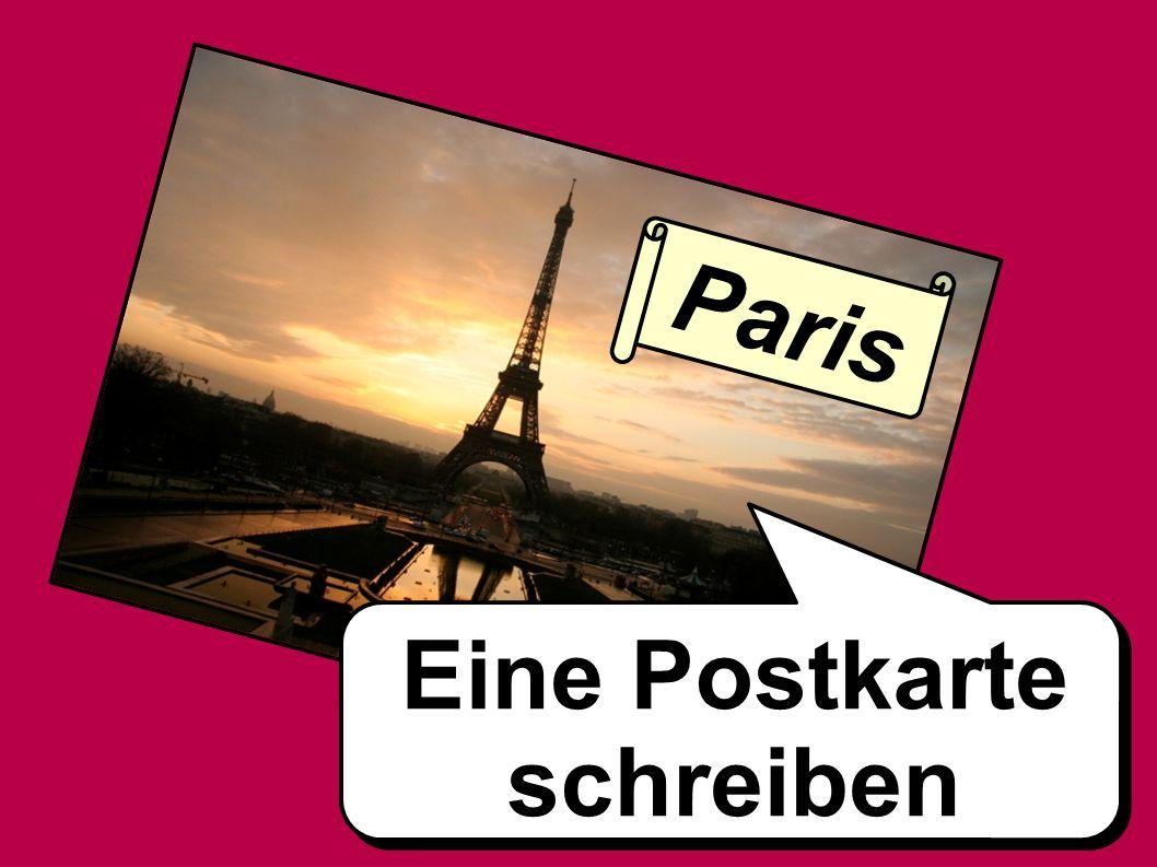 Eine Postkarte schreiben Paris