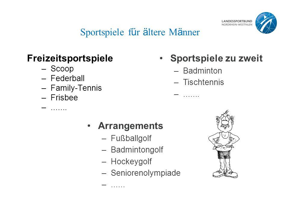Sportspiele f ü r ä ltere M ä nner Freizeitsportspiele –Scoop –Federball –Family-Tennis –Frisbee –.......