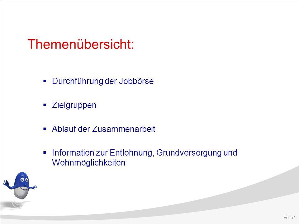 Themenübersicht:  Durchführung der Jobbörse  Zielgruppen  Ablauf der Zusammenarbeit  Information zur Entlohnung, Grundversorgung und Wohnmöglichkeiten Folie 1