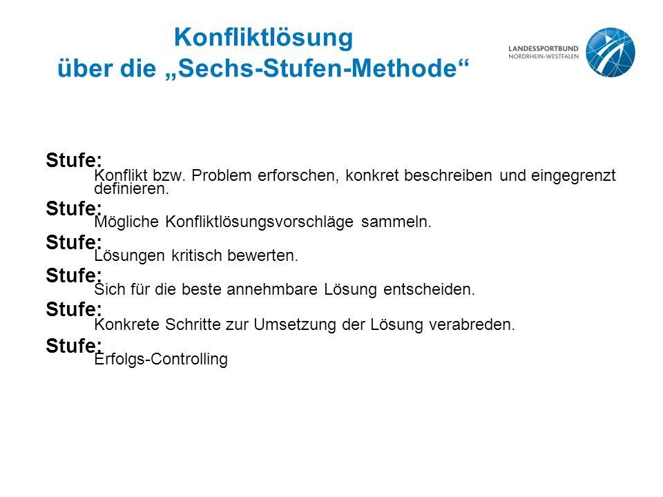 """Konfliktlösung über die """"Sechs-Stufen-Methode Stufe: Konflikt bzw."""