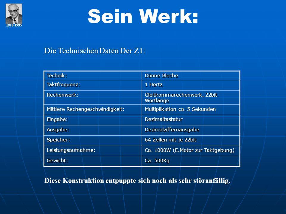 1910-1995 Sein Werk: Die Technischen Daten Der Z1:Technik: Dünne Bleche Taktfrequenz: 1 Hertz Rechenwerk: Gleitkommarechenwerk, 22bit Wortlänge Mittle