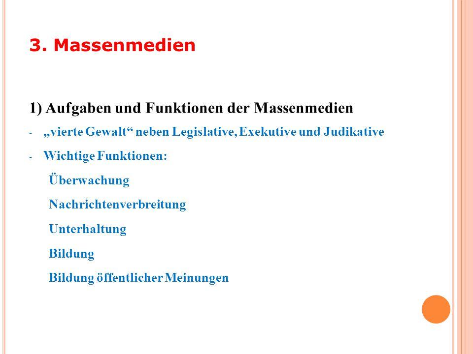"""1) Aufgaben und Funktionen der Massenmedien - """"vierte Gewalt"""" neben Legislative, Exekutive und Judikative - Wichtige Funktionen: Überwachung Nachricht"""