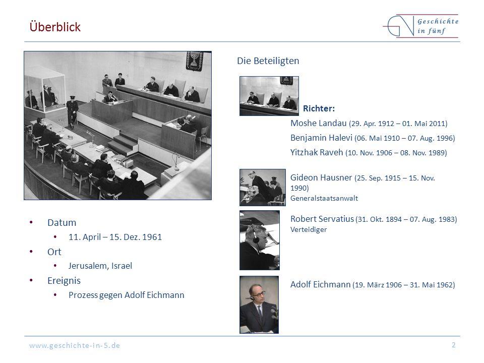www.geschichte-in-5.de Hintergrund Adolf Eichmann organisiert die Massendeportationen von Juden in Ghettos & Vernichtungslager während des Zweiten Weltkriegs Eine Vielzahl von Nazi-Verbrechern kann untertauchen & wird nicht vor Gericht gestellt Eichmann wird in Argentinien aufgespürt & in einer Geheimdienstoperation nach Israel gebracht 3