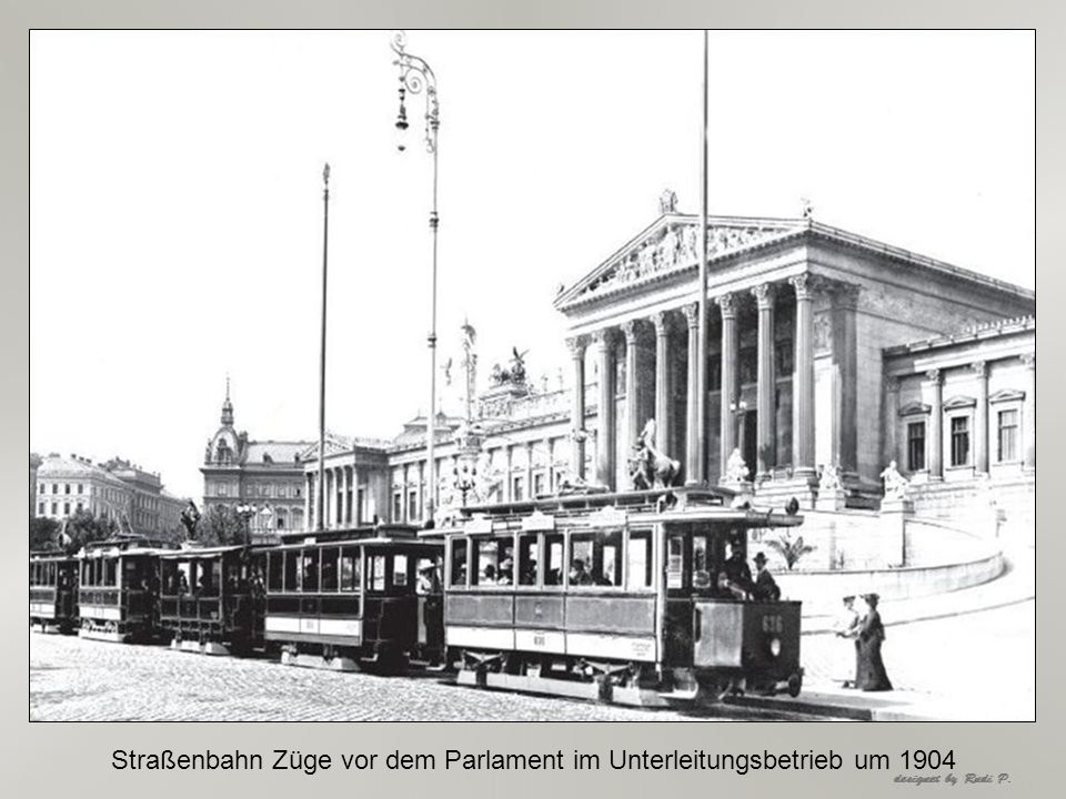 Straßenbahn Züge vor dem Parlament im Unterleitungsbetrieb um 1904