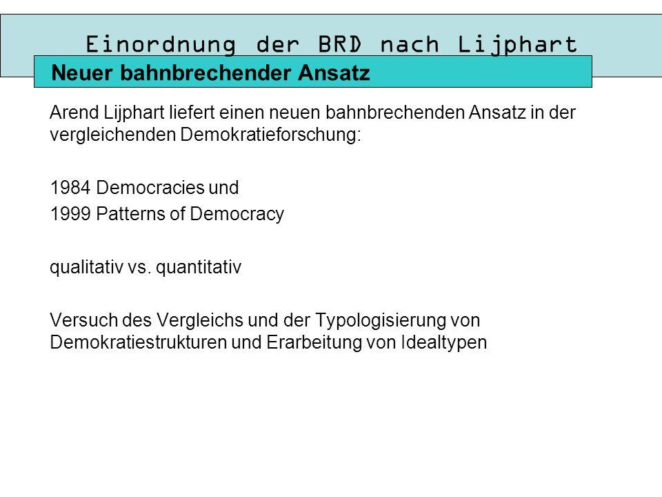 Einordnung der BRD nach Lijphart Arend Lijphart liefert einen neuen bahnbrechenden Ansatz in der vergleichenden Demokratieforschung: 1984 Democracies und 1999 Patterns of Democracy qualitativ vs.