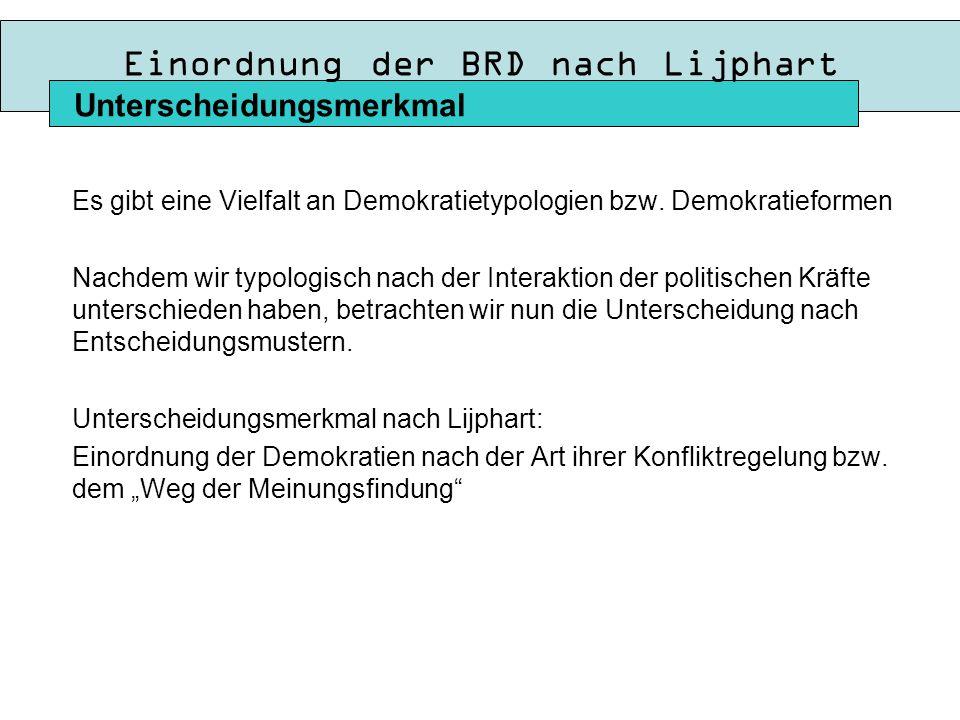 Einordnung der BRD nach Lijphart Es gibt eine Vielfalt an Demokratietypologien bzw.