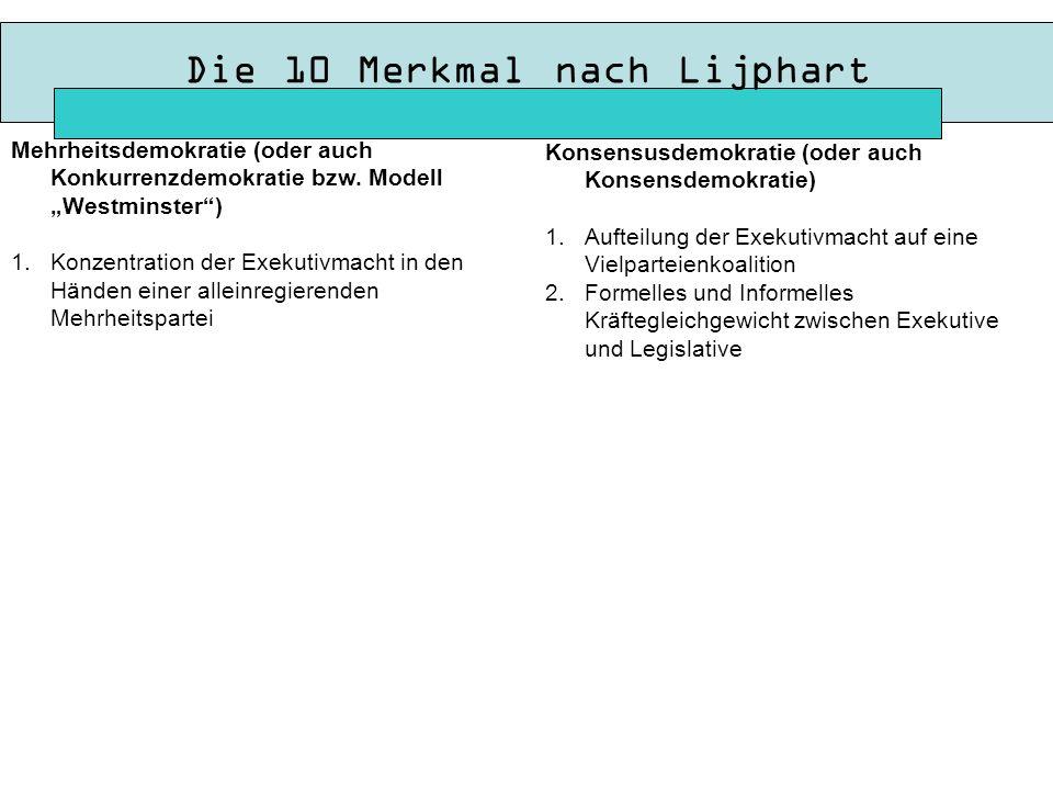 Die 10 Merkmal nach Lijphart Konsensusdemokratie (oder auch Konsensdemokratie) 1.Aufteilung der Exekutivmacht auf eine Vielparteienkoalition 2.Formelles und Informelles Kräftegleichgewicht zwischen Exekutive und Legislative Mehrheitsdemokratie (oder auch Konkurrenzdemokratie bzw.
