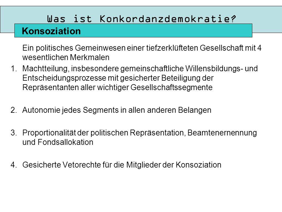 Die 10 Merkmal nach Lijphart Konsensusdemokratie (oder auch Konsensdemokratie) 1.Aufteilung der Exekutivmacht auf eine Vielparteienkoalition Mehrheitsdemokratie (oder auch Konkurrenzdemokratie bzw.