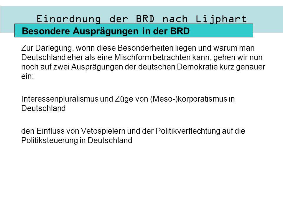 Einordnung der BRD nach Lijphart Zur Darlegung, worin diese Besonderheiten liegen und warum man Deutschland eher als eine Mischform betrachten kann, gehen wir nun noch auf zwei Ausprägungen der deutschen Demokratie kurz genauer ein: Interessenpluralismus und Züge von (Meso-)korporatismus in Deutschland den Einfluss von Vetospielern und der Politikverflechtung auf die Politiksteuerung in Deutschland Besondere Ausprägungen in der BRD