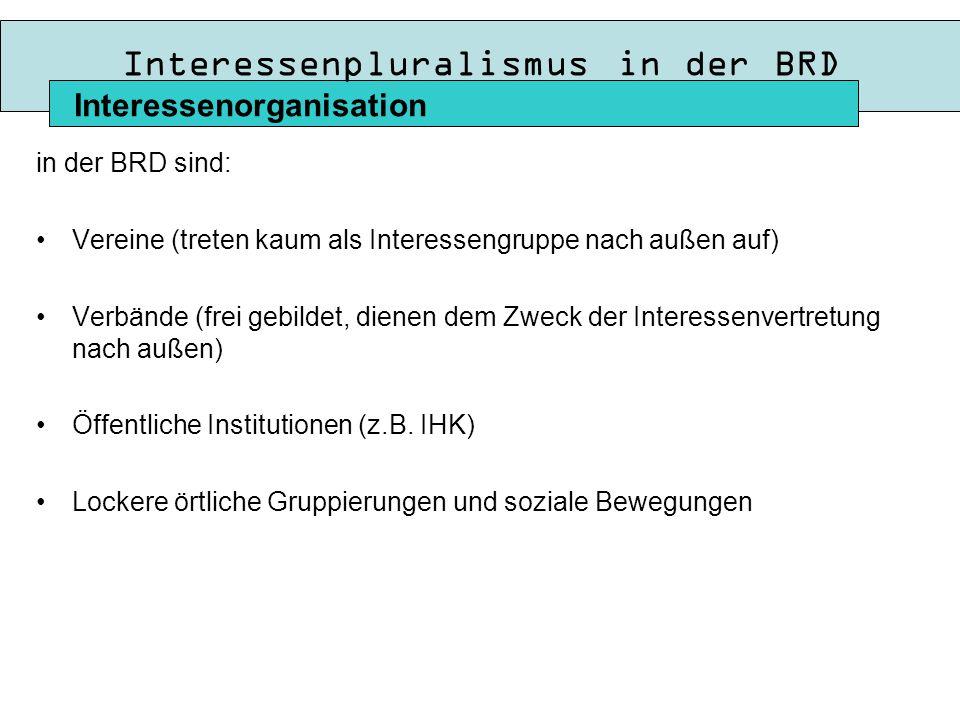 Interessenpluralismus in der BRD in der BRD sind: Vereine (treten kaum als Interessengruppe nach außen auf) Verbände (frei gebildet, dienen dem Zweck der Interessenvertretung nach außen) Öffentliche Institutionen (z.B.