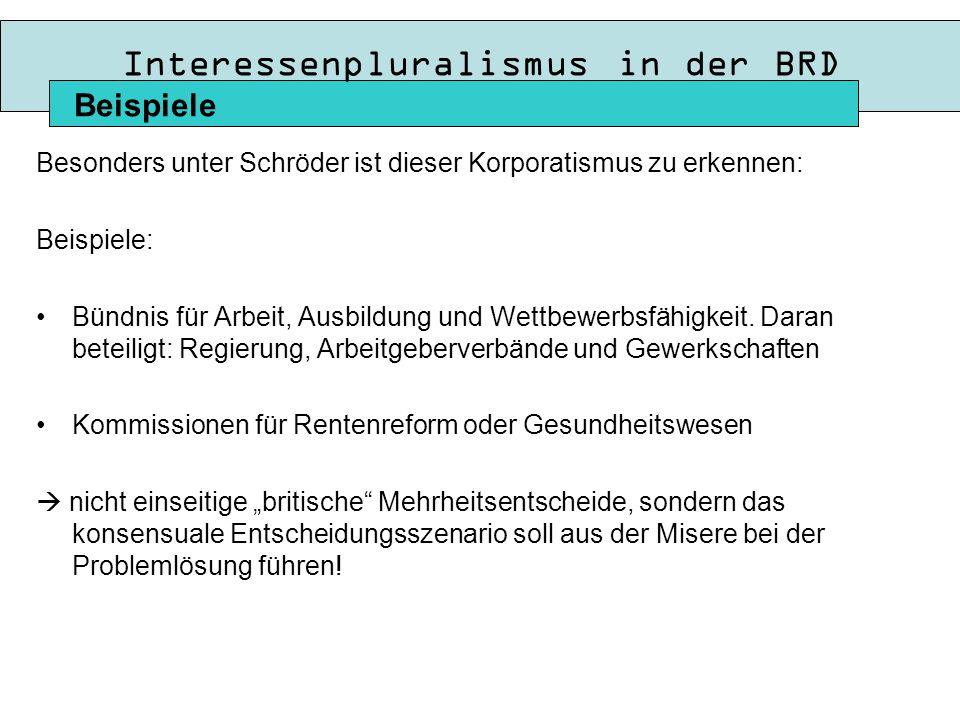 Interessenpluralismus in der BRD Besonders unter Schröder ist dieser Korporatismus zu erkennen: Beispiele: Bündnis für Arbeit, Ausbildung und Wettbewerbsfähigkeit.