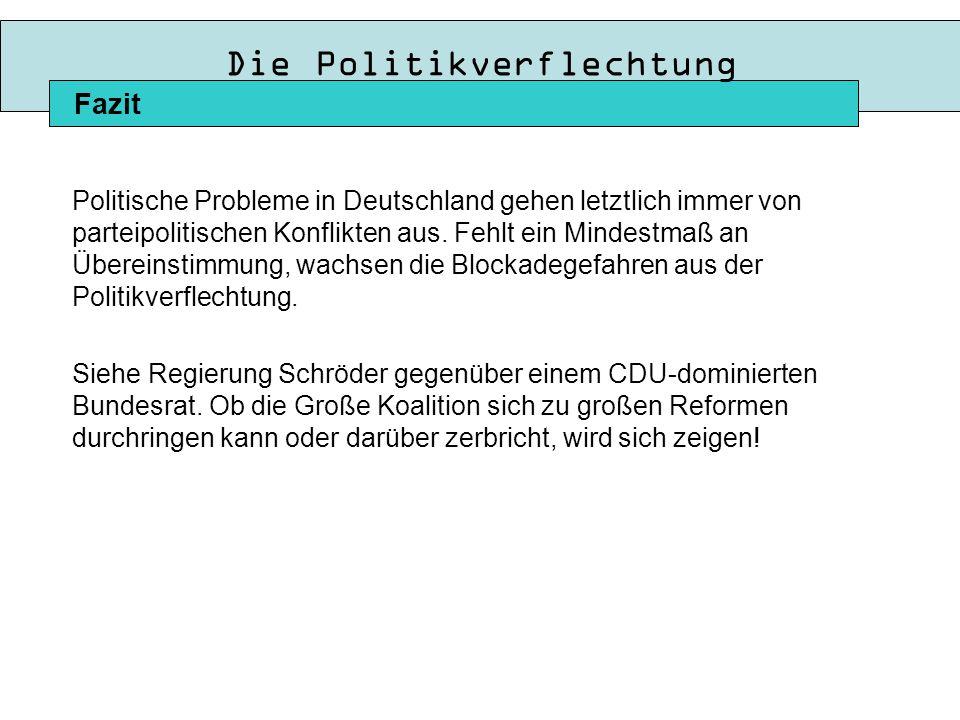 Die Politikverflechtung Politische Probleme in Deutschland gehen letztlich immer von parteipolitischen Konflikten aus.