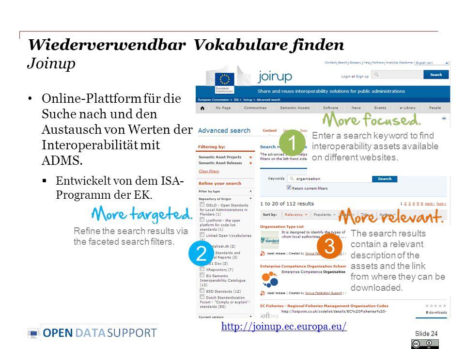 Wiederverwendbar Vokabulare finden Joinup Online-Plattform für die Suche nach und den Austausch von Werten der Interoperabilität mit ADMS.