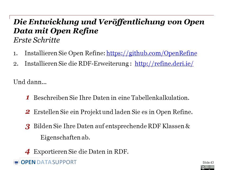 Die Entwicklung und Veröffentlichung von Open Data mit Open Refine Erste Schritte 1.Installieren Sie Open Refine: https://github.com/OpenRefinehttps://github.com/OpenRefine 2.Installieren Sie die RDF-Erweiterung : http://refine.deri.ie/http://refine.deri.ie/ Und dann...