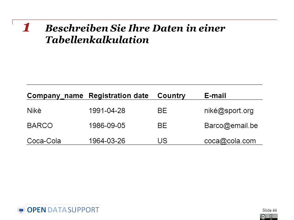 Beschreiben Sie Ihre Daten in einer Tabellenkalkulation Slide 44 Company_nameRegistration dateCountryE-mail Nikè1991-04-28BEniké@sport.org BARCO1986-09-05BEBarco@email.be Coca-Cola1964-03-26UScoca@cola.com 1