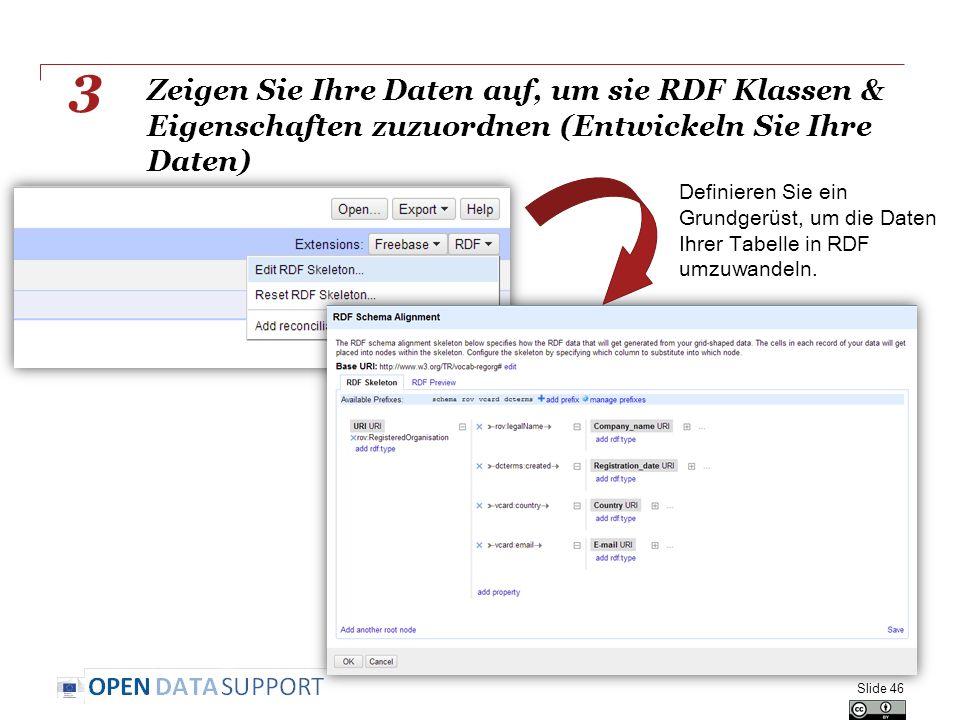 Zeigen Sie Ihre Daten auf, um sie RDF Klassen & Eigenschaften zuzuordnen (Entwickeln Sie Ihre Daten) Slide 46 3 Definieren Sie ein Grundgerüst, um die Daten Ihrer Tabelle in RDF umzuwandeln.