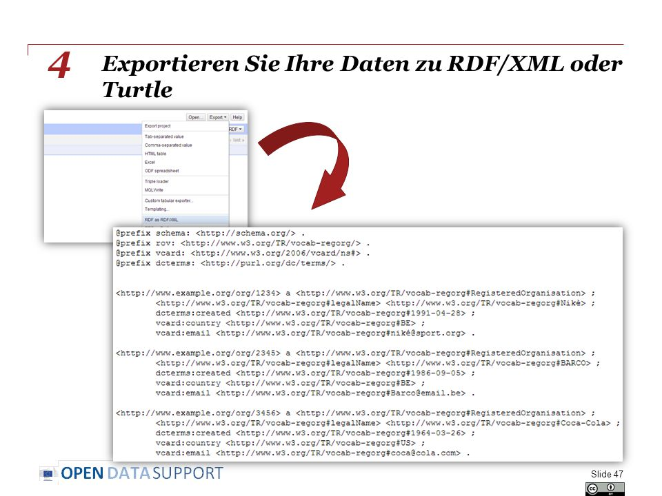Exportieren Sie Ihre Daten zu RDF/XML oder Turtle Slide 47 4