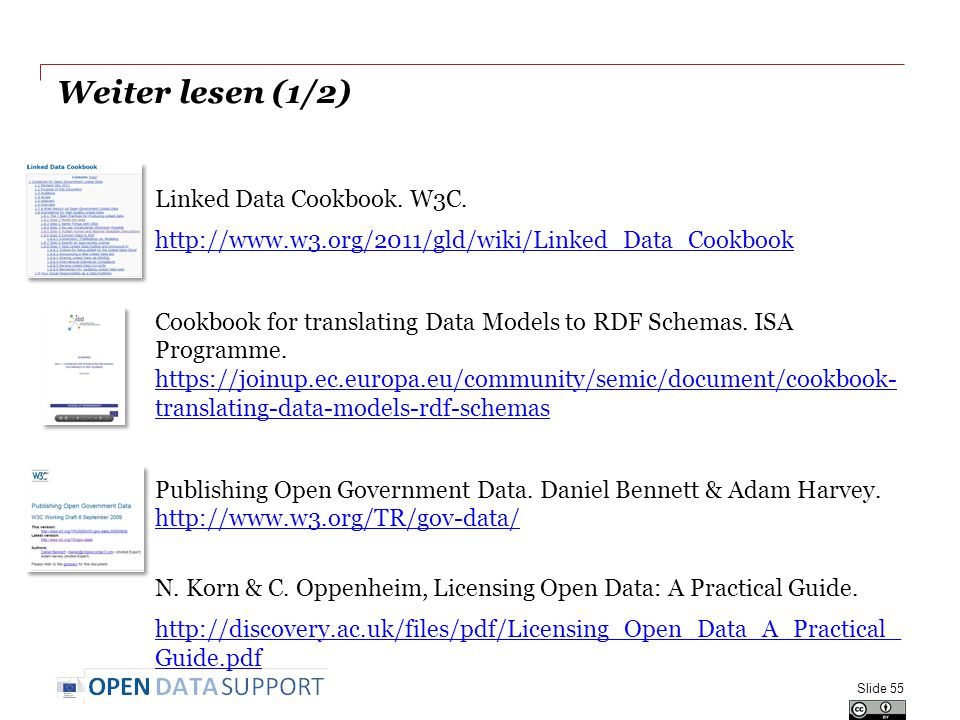 Weiter lesen (1/2) Linked Data Cookbook. W3C.