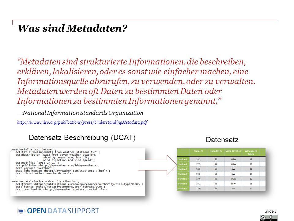 Best Practices für die Veröffentlichung Ihrer Daten & Metadaten 1.Entwickeln Sie die Daten; 2.Benennen Sie Dinge mit URIs; 3.Verwenden Sie vorhandene Vokabulare wieder, wann immer möglich; 4.Veröffentlichen Sie von Mensch und Maschine lesbare Beschreibungen – Metadaten; 5.Konvertieren Sie die Daten in RDF; 6.Bestimmen Sie eine entsprechende Lizenz; 7.Hosten Sie öffentlich den verknüpften Datensatz und seine Metadaten und geben Sie dies bekannt.