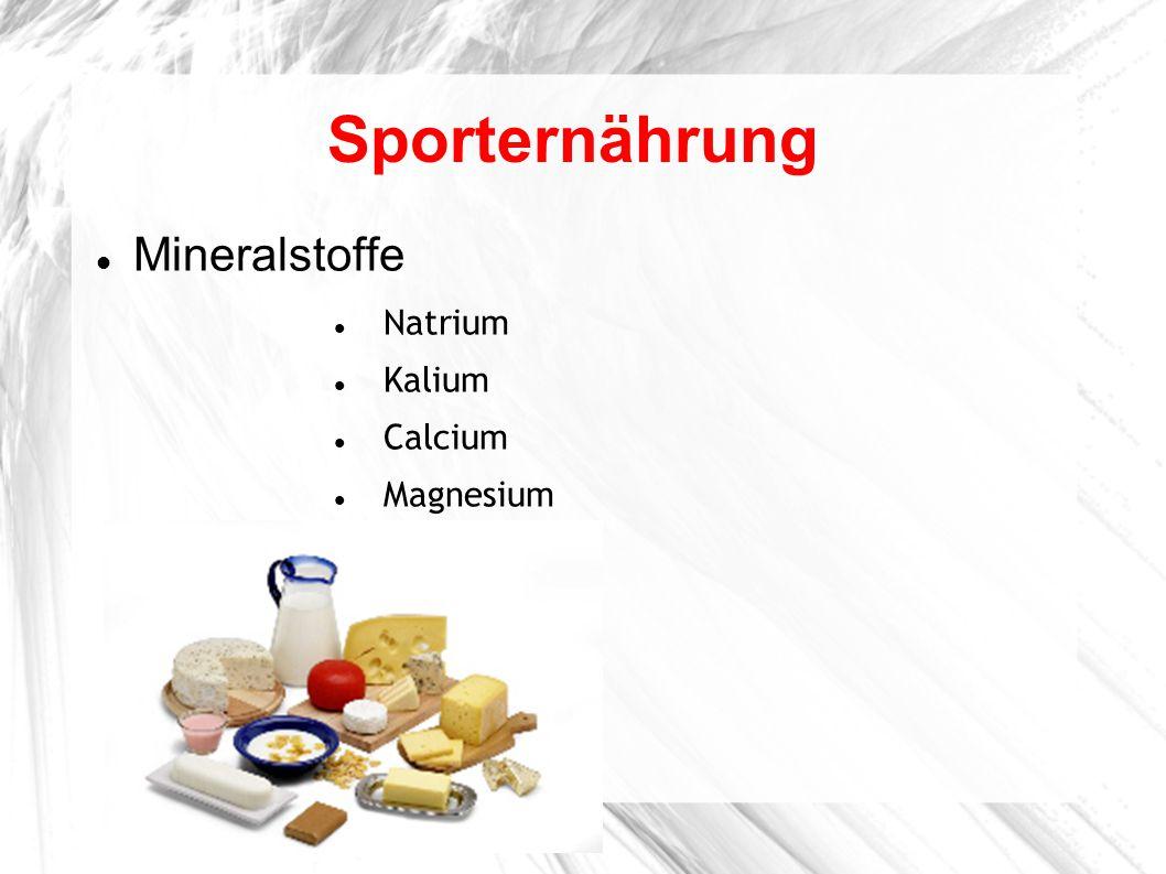 Sporternährung Mineralstoffe Natrium Kalium Calcium Magnesium