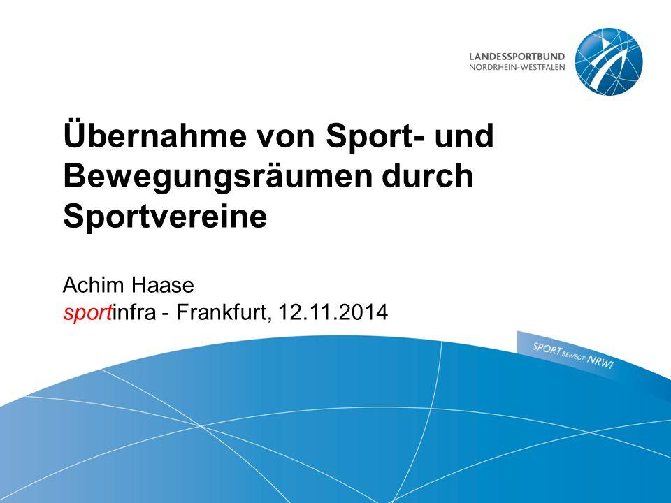 Übernahme von Sport- und Bewegungsräumen durch Sportvereine  Achim Haase sportinfra - Frankfurt, 12.11.2014