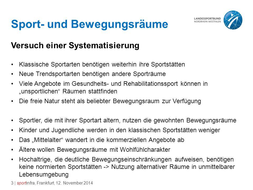 3 | sportinfra, Frankfurt, 12. November 2014 Sport- und Bewegungsräume Versuch einer Systematisierung Klassische Sportarten benötigen weiterhin ihre S
