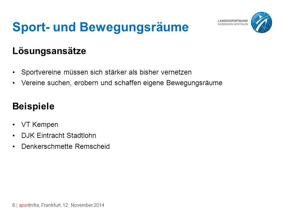 6 | sportinfra, Frankfurt, 12. November 2014 Sport- und Bewegungsräume Lösungsansätze Sportvereine müssen sich stärker als bisher vernetzen Vereine su