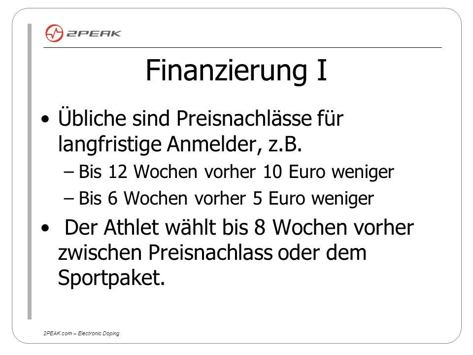 2PEAK.com – Electronic Doping Finanzierung I Übliche sind Preisnachlässe für langfristige Anmelder, z.B.