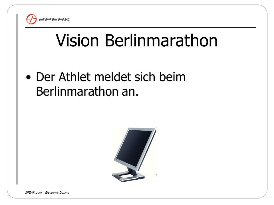 2PEAK.com – Electronic Doping Der Athlet erhält Die Startnummer zum Berlinmarathon Einen Trainingsplan Eine Leistungsdiagnostik Einen verbesserten Trainingsplan aufgrund der Leistungsdiagnostik