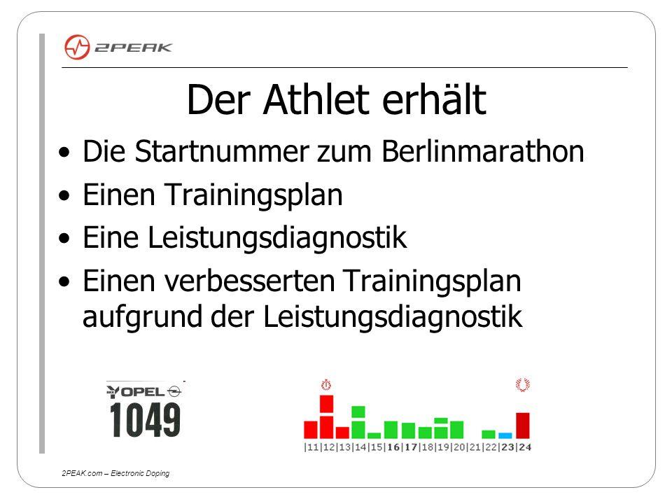2PEAK.com – Electronic Doping Vorteil für den Athleten Gezieltes Marathontraining Leistungsdiagnostik Online Vergleichstabellen zu Zeiten und Strecken vor und nach dem Wettkampf Puls- oder Geschwindigkeitsrichtwerte für seinen Marathon