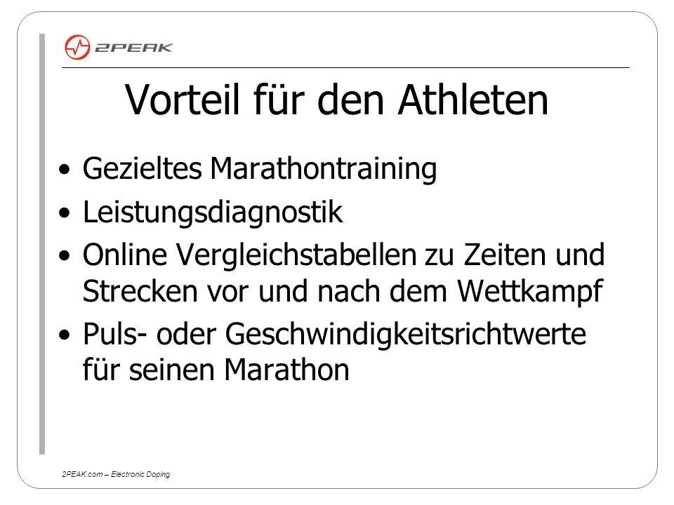 2PEAK.com – Electronic Doping Vorteil für den Veranstalter Online Anmeldung gratis weniger Startnummernhandling Planungssicherheit aufgrund frühzeitiger Anmeldung der Athleten Öffentlichkeitswirkung (Trainingsplan) Keine Kosten für die Startnummer (s.