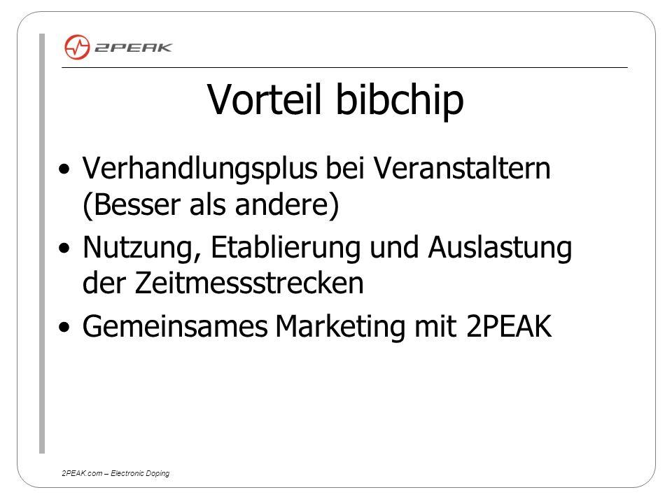 2PEAK.com – Electronic Doping Vorteil für 2PEAK Zielgruppenorientiertes Marketing Gemeinsames Marketing mit bibchip schlankere Datenerhebung