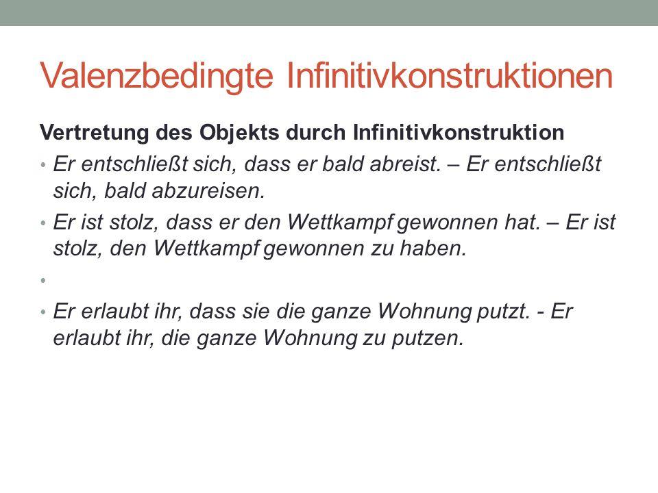Valenzbedingte Infinitivkonstruktionen Vertretung des Objekts durch Infinitivkonstruktion Er entschließt sich, dass er bald abreist.
