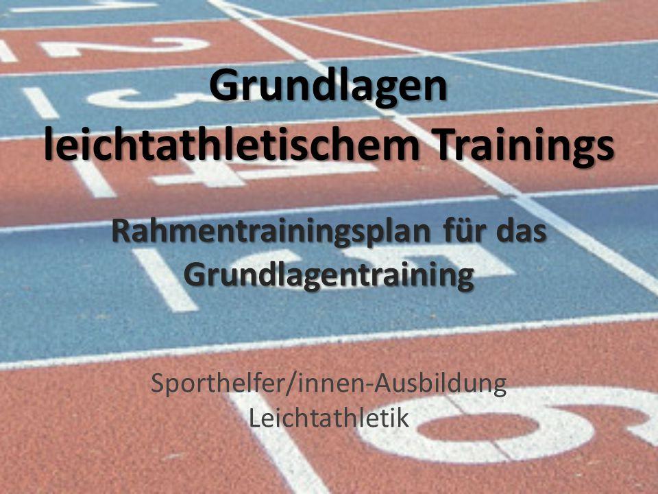 Grundlagen leichtathletischem Trainings Sporthelfer/innen-Ausbildung Leichtathletik Rahmentrainingsplan für das Grundlagentraining