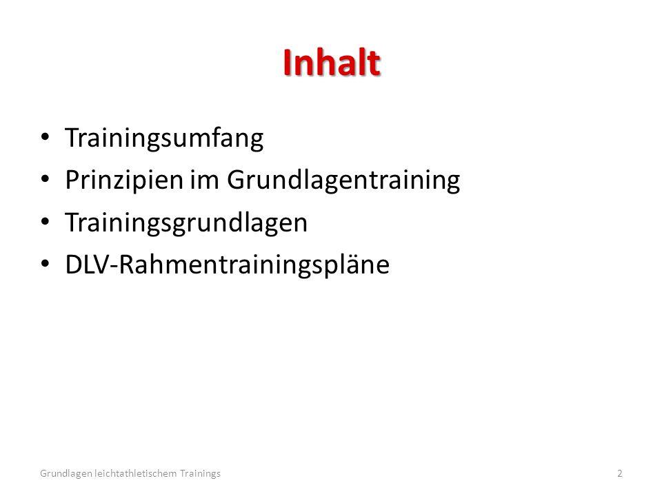 Inhalt Trainingsumfang Prinzipien im Grundlagentraining Trainingsgrundlagen DLV-Rahmentrainingspläne Grundlagen leichtathletischem Trainings2