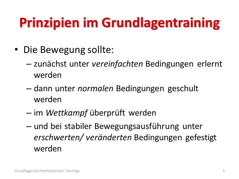 Prinzipien im Grundlagentraining Die Bewegung sollte: – zunächst unter vereinfachten Bedingungen erlernt werden – dann unter normalen Bedingungen gesc
