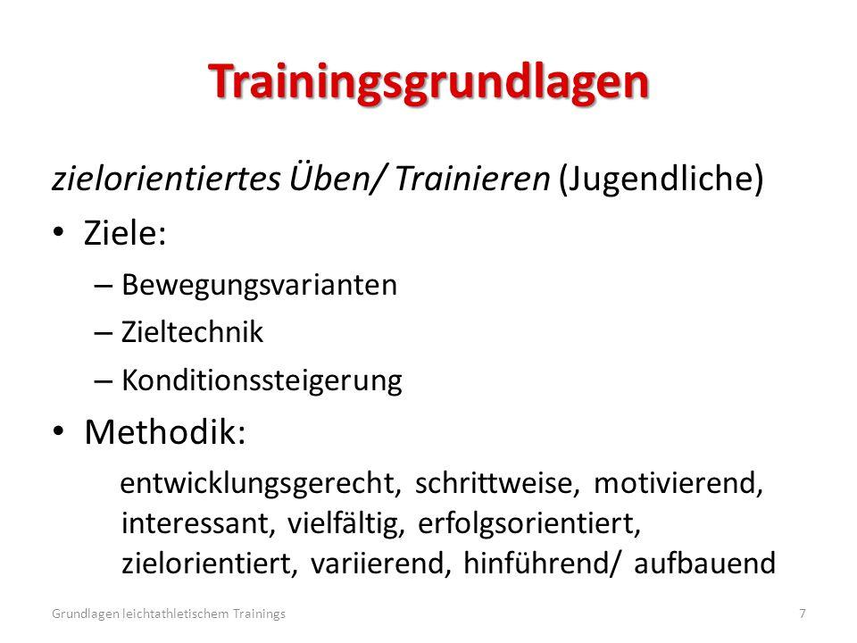 Trainingsgrundlagen zielorientiertes Üben/ Trainieren (Jugendliche) Ziele: – Bewegungsvarianten – Zieltechnik – Konditionssteigerung Methodik: entwick