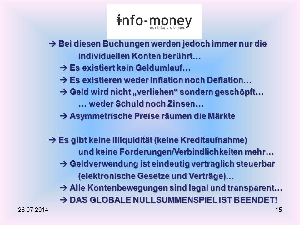 26.07.201415  Bei diesen Buchungen werden jedoch immer nur die individuellen Konten berührt…  Es existiert kein Geldumlauf…  Es existieren weder In
